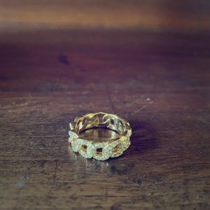 Gold-toned pave link ring, Chloe + Isabel